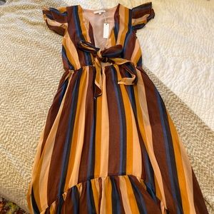 Vici Collection Olivaceous Striped High Low Dress